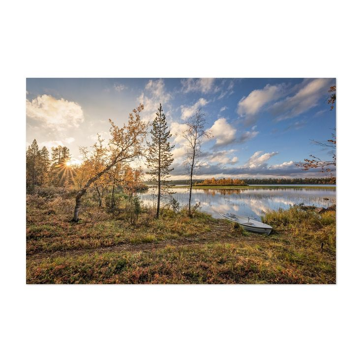 Noir Gallery Lapland Finland Lake Landscape Unframed Art Print/Poster (40 x 60), Blue