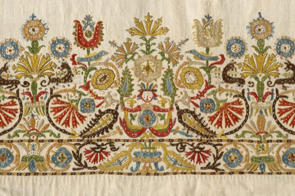 Embroidery is perhaps the finest expression of Greek folk art and is of particular artistic interest. The product of the assimilation of the influences from both east and west that left their mark on all aspects of 18th and 19th century Greek artistic practice, Greek folk embroidery went on to create a decorative quality all its own.