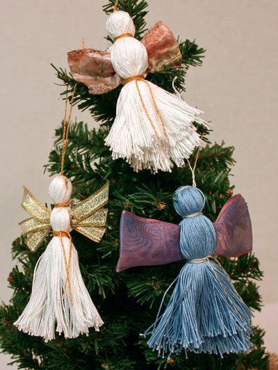 These easy angel crafts for the tree come in a rainbow of colors. Choose your favorite yarn and create your own handmade ornament crafts.