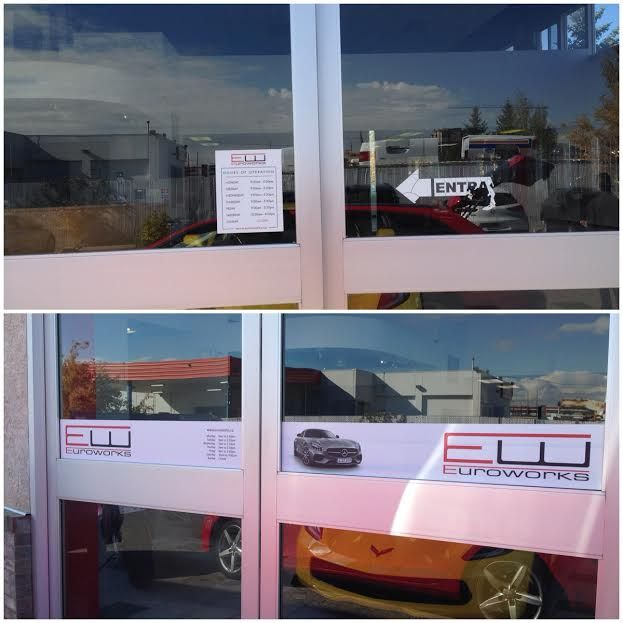 Euroworks new & improved window decals for their logo and hours! #yyc #autoparts #design http://www.euroworks.ca