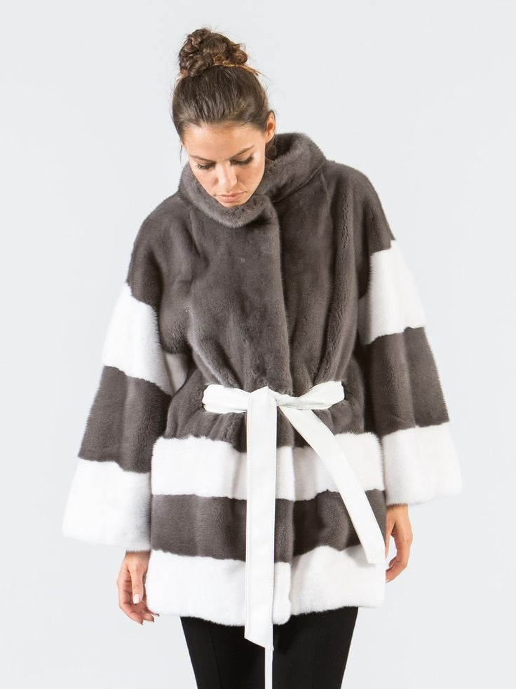 Stone Gray and White Mink Fur Jacket     #stonegray #white #mink #fur #jacket #real #style #realfur #elegant #haute #luxury #chic #outfit #women #classy #online #store
