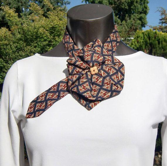 Cravatta di seta sciarpa, Upcycled accessorio di moda, modello triangolo, nero ruggine avorio, seta sciarpa Ascot, collana cravatta, collare di seta