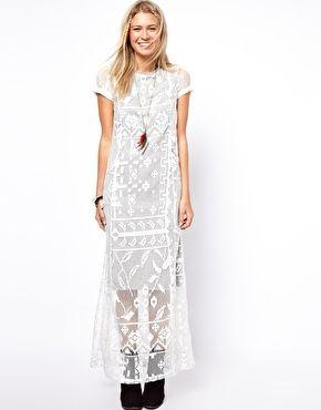 Image 1 ofASOS Maxi T-Shirt Dress With Lace Overlay