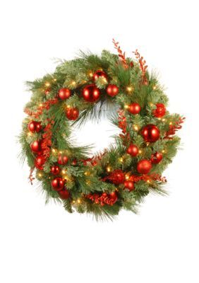 National Tree Company 30-In. Decorative Collection Christmas Wreath With Led Lights - Green - One Size