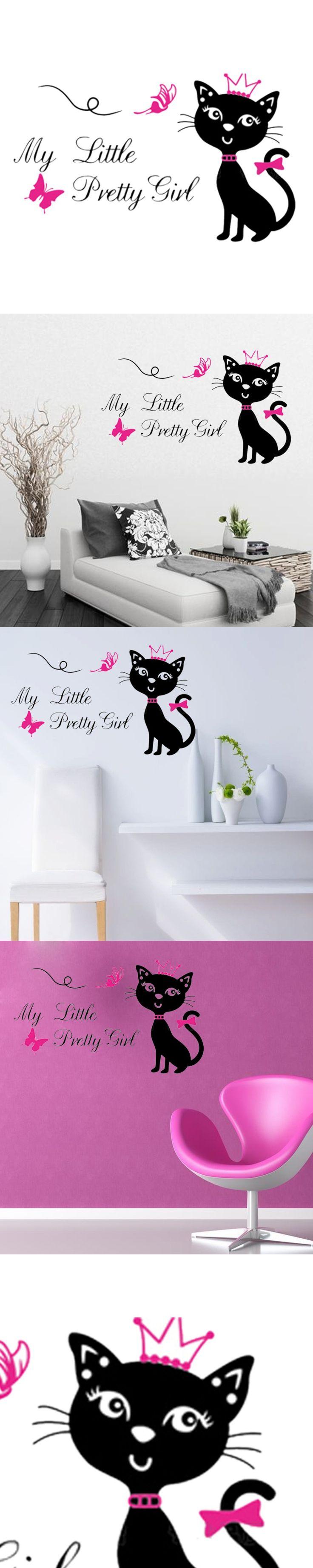 Hello Kitty Zebra Wall Decals - 60 33cm cat vinyl wall sticker home decor removable cartoon wall decals art diy muraux