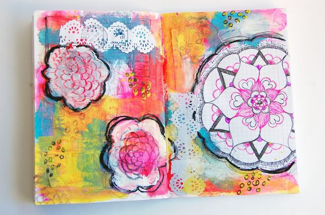 heArt Makes: Add your drawings to your mixed media pages