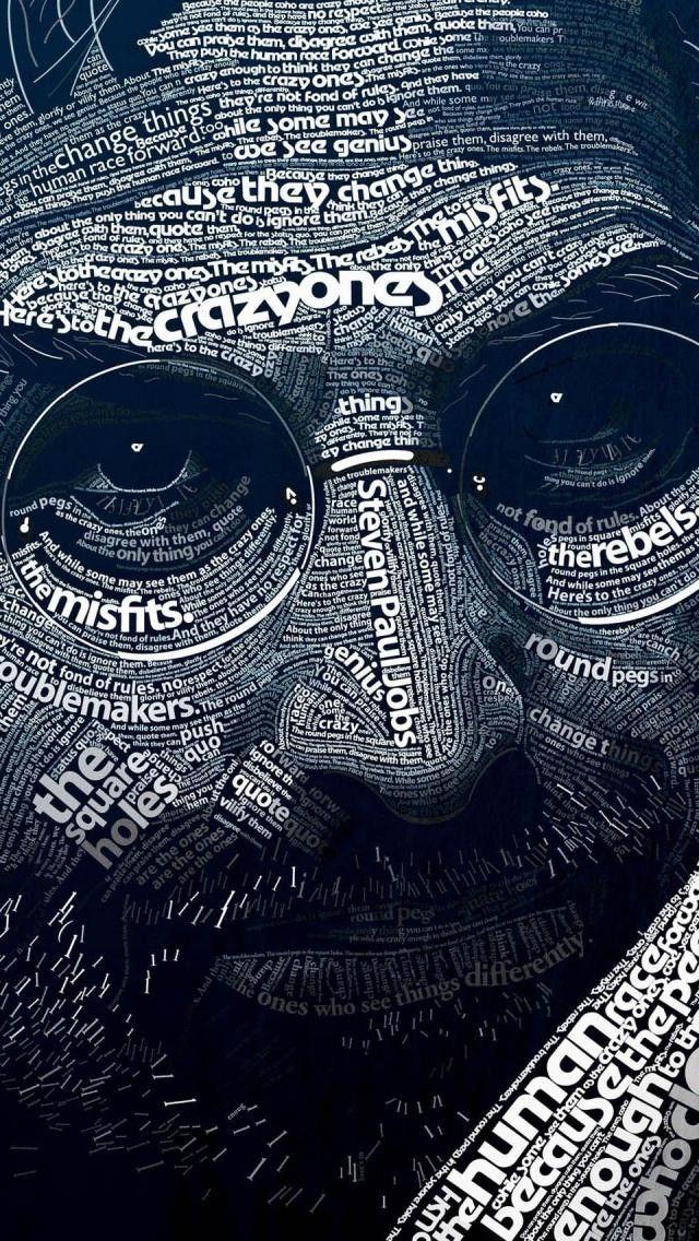 Steve Jobs Typography Art Wallpaper Hd 4k For Mobile Android Iphone Seni Wallpaper Ponsel Wallpaper Lucu