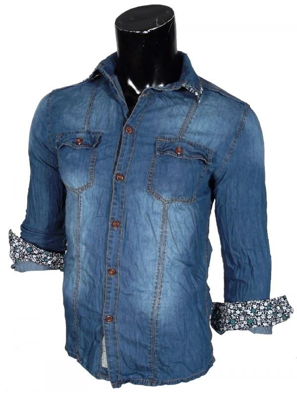Camicia uomo Jeans Manica Lunga.  Effetto Vintage.