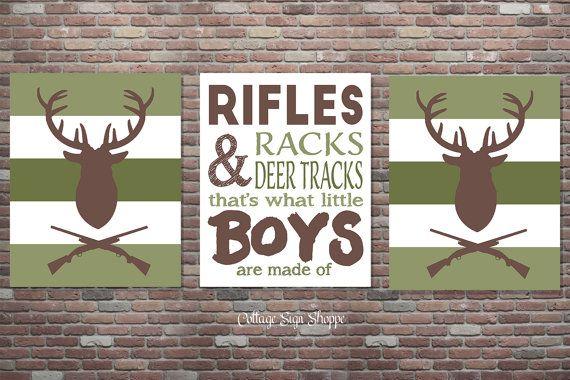 Hunting Nursery Boys Hunting Sign SET Boys by CottageArtShoppe