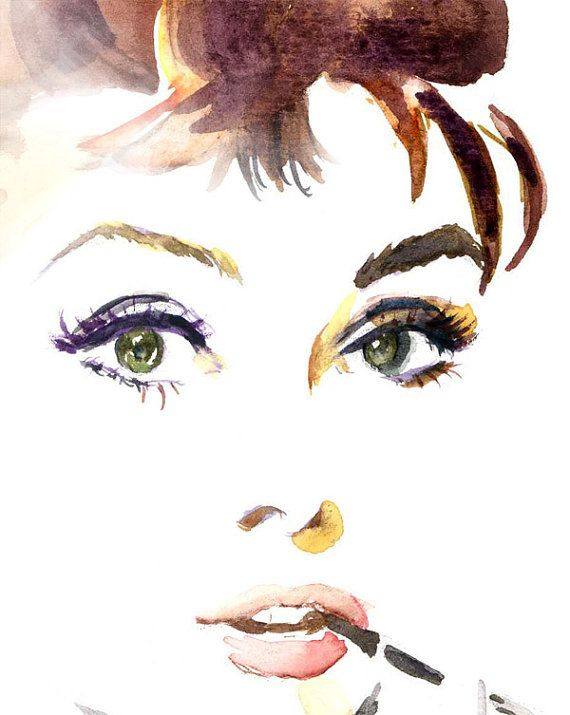 Watercolor painting Audrey Hepburn 9x12 print by sookimstudio