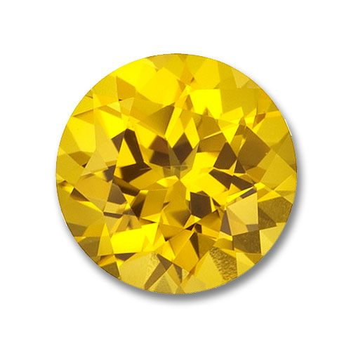 8.0mm Round Gem Quality Chatham Cultured Lab-Grown Yellow Sapphire Weighs 2.50-3.00 Ct.