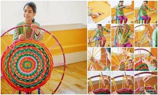 10 Fabulous DIY Ways to Recycle Old Tees - weave hula hoop rug tutorial