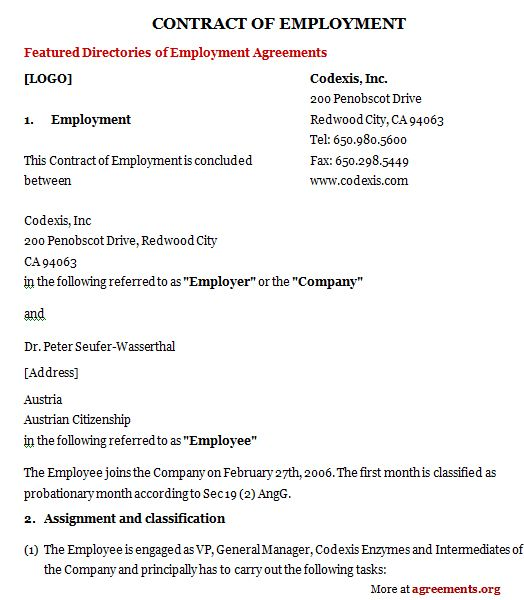 Employment Agreements Employment Agreement Part Time Employment