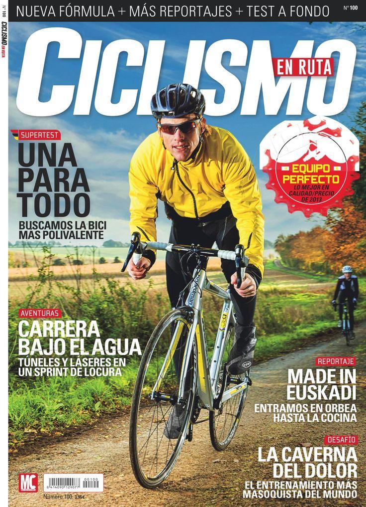 Revista CICLISMO EN RUTA 100. Portada diciembre 2013. Carrera bajo el agua. Made in Euskadi.