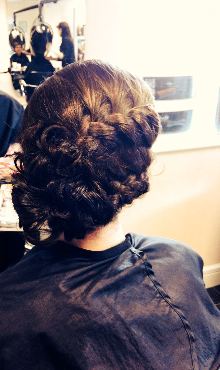 Braid pleated upstyle messy loose chignon bridal bride wedding hair