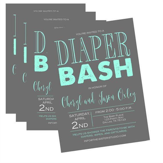 any color diaper shower invitation baby shower invitation diaper bash gender neutral baby