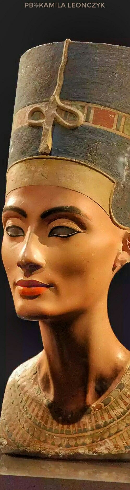 The iconic bust ofNefertitiis part of theEgyptian Museum of Berlincollection, currently on display in theNeues Museum - TheNefertiti Bustis a paintedstucco-coatedlimestonebustofNefertiti, theGreat Royal Wifeof theEgyptianPharaohAkhenaten.The work is believed to have been crafted in 1345B.C. by the sculptorThutmose, because it was found in his workshop inAmarna,Egypt