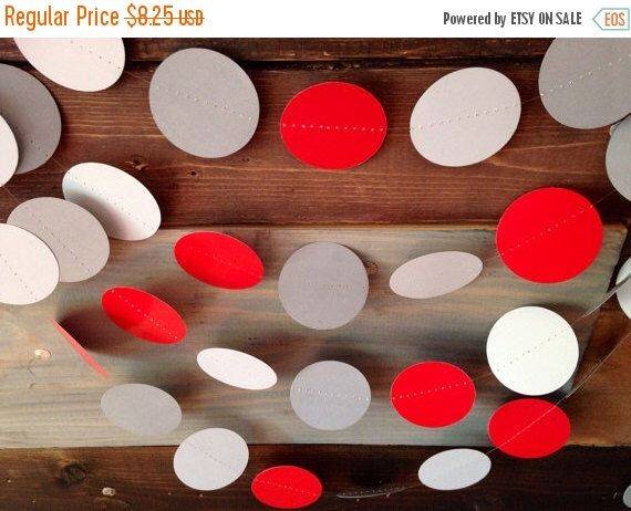 Holiday Sale Red and Gray Garland Birthday Party Decor, Ohio State Colors, Buckeye Football Party, Baby Shower Decor, Nursery, Etc! by PartyMadePretty on Etsy https://www.etsy.com/listing/191095291/holiday-sale-red-and-gray-garland
