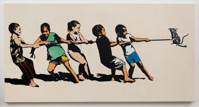 Blek le Rat, 'Rope Pulling,' 2013, Jonathan LeVine Gallery
