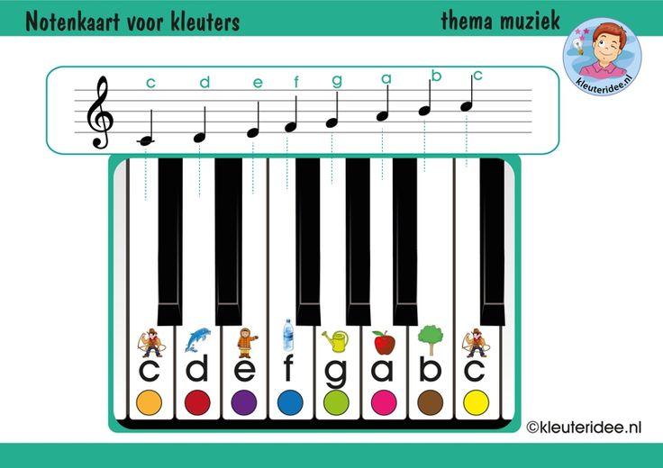 Notenkaart voor kleuters met uitbreiding, thema muziek, kleuteridee, free download
