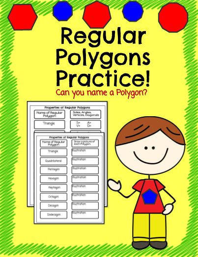 Regular Polygons Practice - Have your students use these graphic organizers to name the number of angles, sides, vertices, and diagonals of each regular polygon. There is a second sheet included that has them illustrate each shape, as well. Great Practice or Review! Great for an interactive notebook, too! #teachersherpa