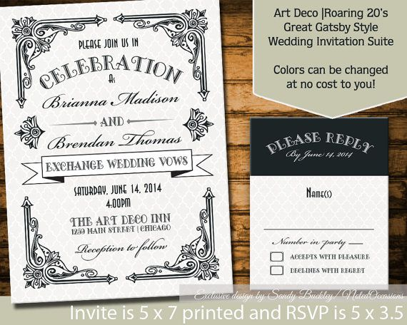 Art Deco Theme Wedding Invitation suite  Roaring 20's Great Gatsby Theme- great for spring, summer, fall and winter wedding! by NotedOccasions, $35.00