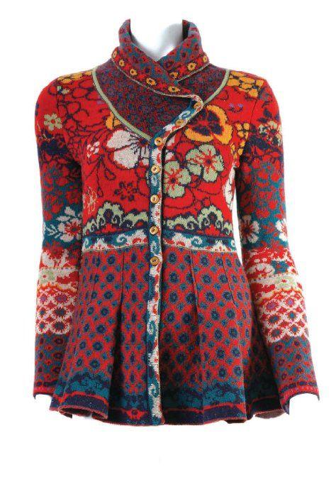 Amazon.com: Ivko LARGE Jacquard Sweater Jacket - Shawl Collar - Flame Red: Clothing