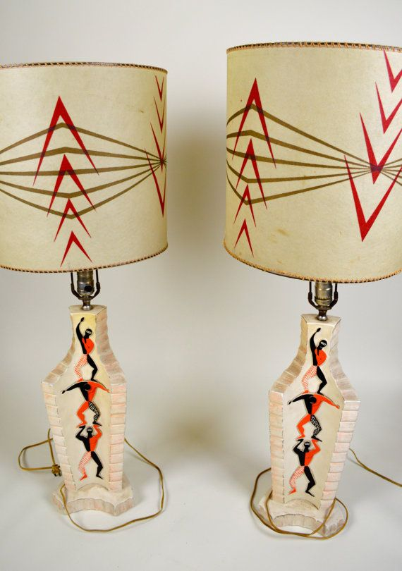 956 best lamps from hell images on pinterest vintage lamps pair of plaster circus lamps with shades very retro mid century modern aloadofball Choice Image