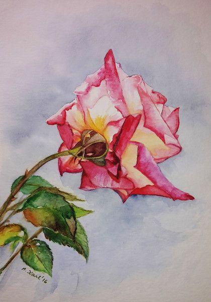 """Aquarell - Original Aquarell """"Rose"""" 17x24 cm - ein Designerstück von Aranka-1 bei DaWanda"""