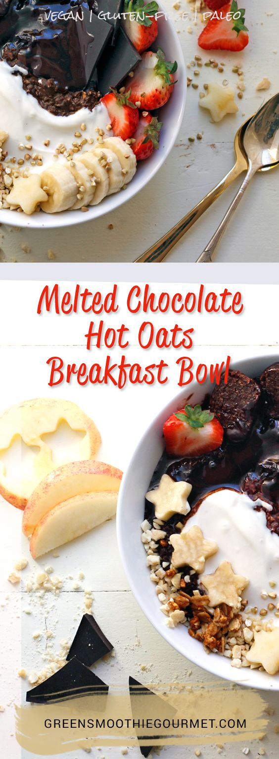 Melted Chocolate Hot Oats Breakfast Bowl. This hot bowl of oatmeal is also rich with chocolate, topped with grains and fruits, it is the perfect breakfast, or lunch, or snack. And the cacao and dark cocoa are a mood-booster so be prepared to have a great day. Finally, my favorite part is putting dark chocolate …