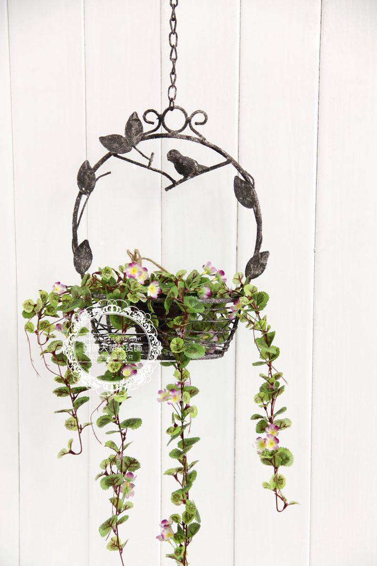 法式乡村复古作旧风格铁艺小鸟花托创意小花架花器花园阳台装饰-淘宝网