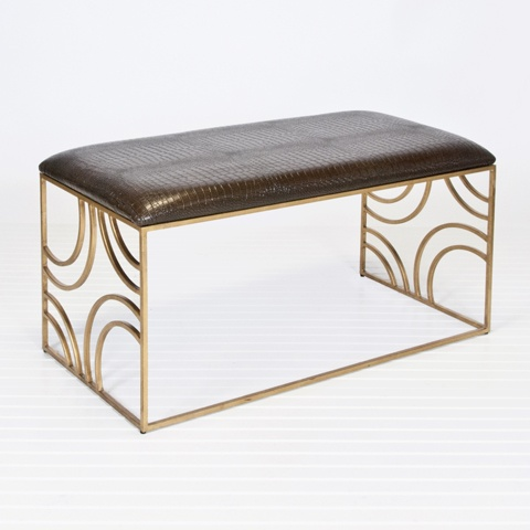 www.matthewizzo.com Worlds Away Zoe Gold Leafed Bench w. Brown Faux Croc Upholstery