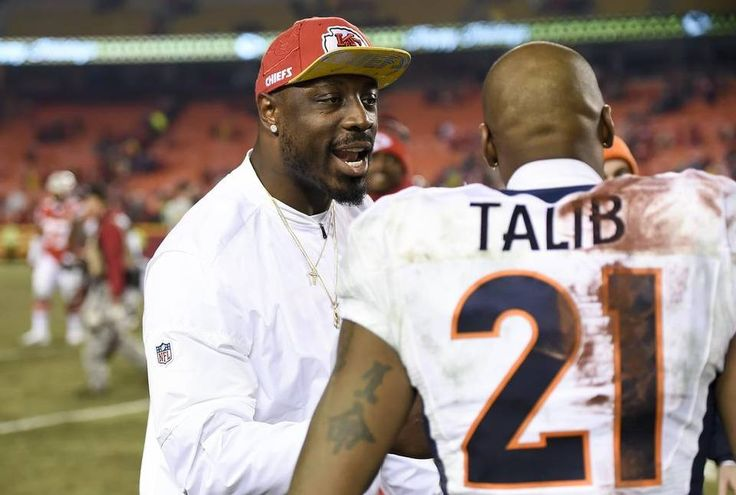 Kansas City Chiefs outside linebacker Justin Houston spoke with Denver Broncos cornerback Aqib Talib (21) after the Chiefs' 33-10 win on December 25, 2016 at Arrowhead Stadium in Kansas City, Mo. Houston was not active for the game with knee swelling.
