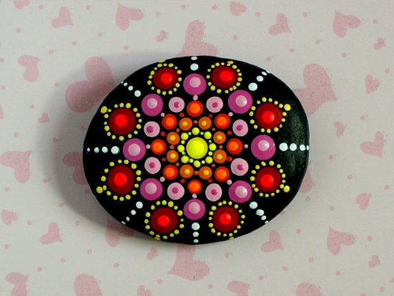 Valentine's Day gift-Bohemian dot art-yoga by RockArtiste on Etsy
