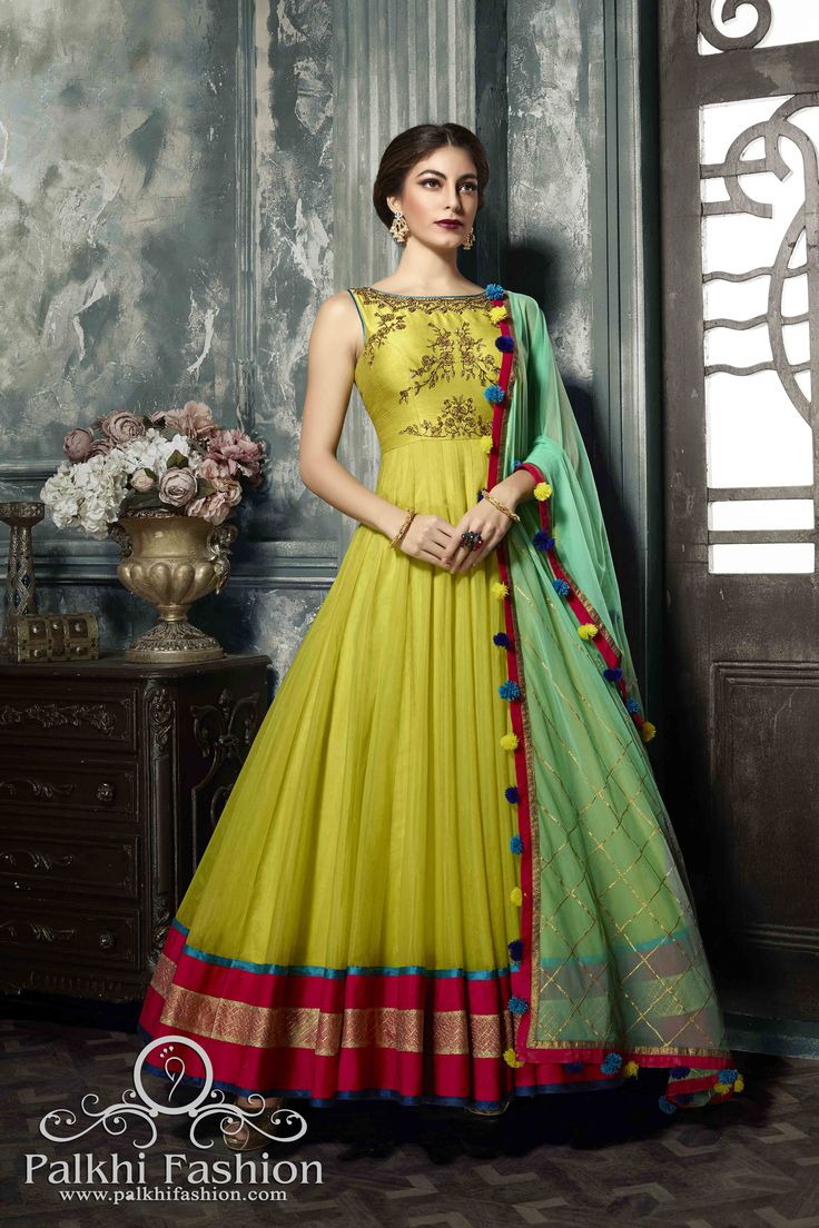 PalkhiFashion Exclusive Full Flair Lime Green Silk Outfit with Elegant Work.