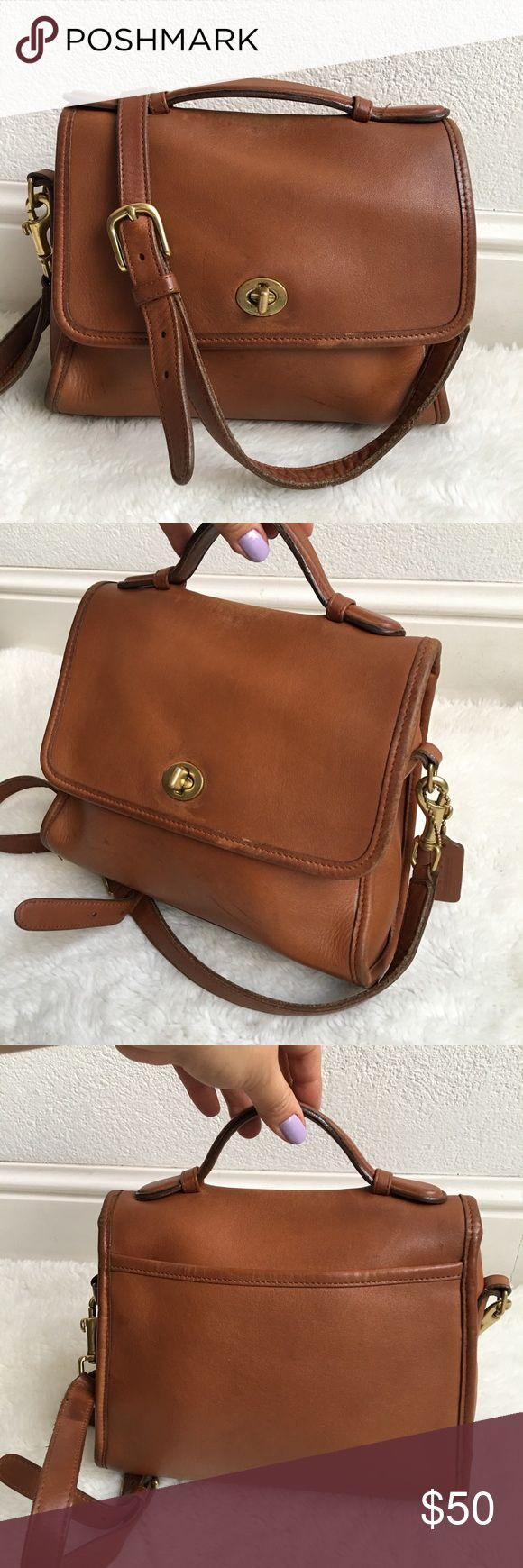 "Vintage Coach Legacy Brown Leather Court Bag Pre-owned authentic Vintage Coach Legacy Brown Leather Court Bag. It measures 9.5x8"" inches. Strap is 52"" inches. Made in Costa Rica. No. E2P-9870. Bag has signs of wear and patina throughout due to its age. Please look at pictures for better reference. Happy Shopping! Coach Bags Crossbody Bags"