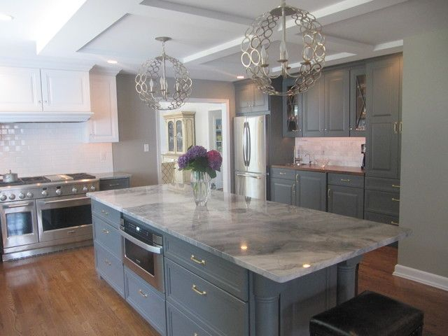 Super White Quartzite with gray cabinets modern kitchen with unique chandeli