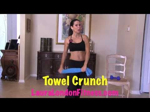 ▶ Sexy Standing Up Abs with Laura London - 13 min., with warm up...need towel and 8lb. wt