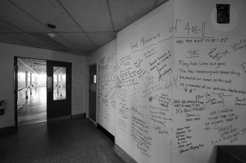 """""""It's like a going away card,"""" Tom said. """"People had written all over the walls. Everybody signed it."""" Their messages varied — some had recounted tales of their days working in the hospital, others simply said farewell, and some wrote what appeared to be inside jokes. The etchings on the wall only added to the spooky aura around the building, Tom said."""