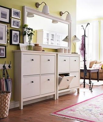 Ikea shoe storage- this is the cabinet I want to get for our entry hallway. I love how slim it is, so it doesn't take up much hall space (it's about 9″ deep). I like how they put two side by side here. The cabinet is $99.00. @ DIY Home Decor