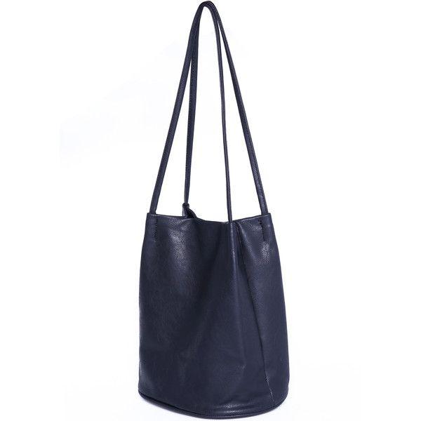 Black Buckle PU Shoulder Bag (€13) ❤ liked on Polyvore featuring bags, handbags, shoulder bags, sheinside, purses, navy, navy blue purse, black handbags, buckle purses and navy blue handbags