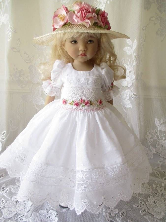 """Little Darling Doll Outfit Smocked Dianna Effner 13"""" Pink Roses White Dotted #DiannaEffner"""