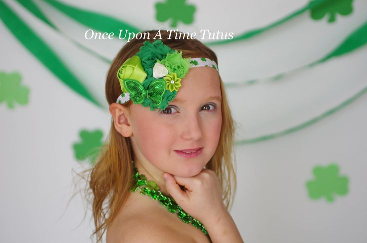 Shamrock Flower Headband - St. Saint Patricks Day Hairbow - Oversized Accessory Clover Hair Bow Lime Emerald Kelly Green Sparkle Accessories by OnceUponATimeTuTus on Etsy