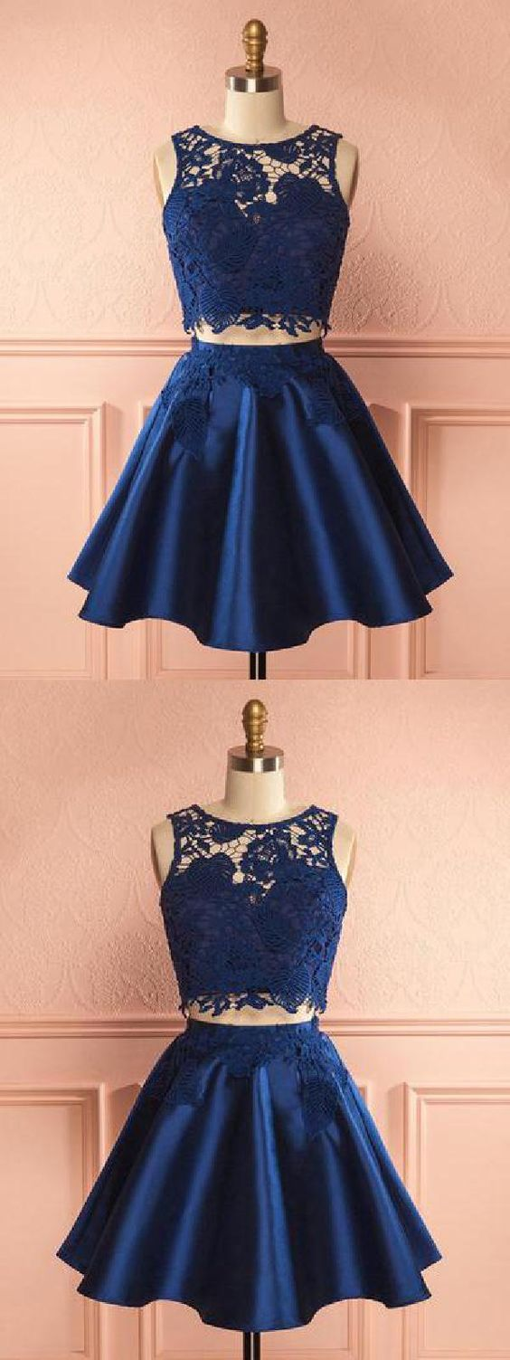 Fancy Navy Chic Dark Navy Homecoming Dress Satin Two Pieces Homecoming Dress Party Dress