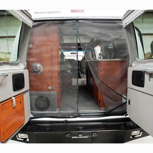 Sportsmobile bug netting rear doors sprinter doors for Back door with window and screen