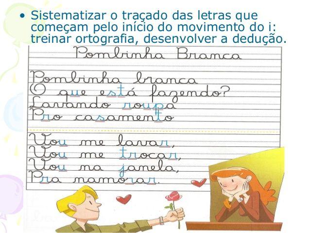 • Sistematizar o traçado das letras que começam pelo início do movimento do i: treinar ortografia, desenvolver a dedução.