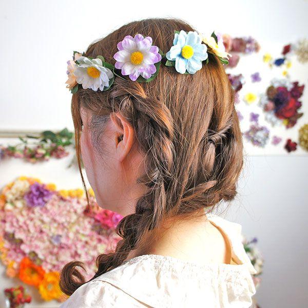 フラワークラウン 花かんむり カチューシャ マーガレット フラワー リース カチューシャ[お世話や][osewaya]