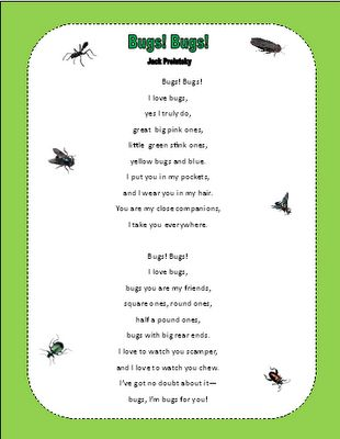 My student Adam, read this poem for Poetry month this month. He LOVES bugs, so it was such a perfect poem for him. :)