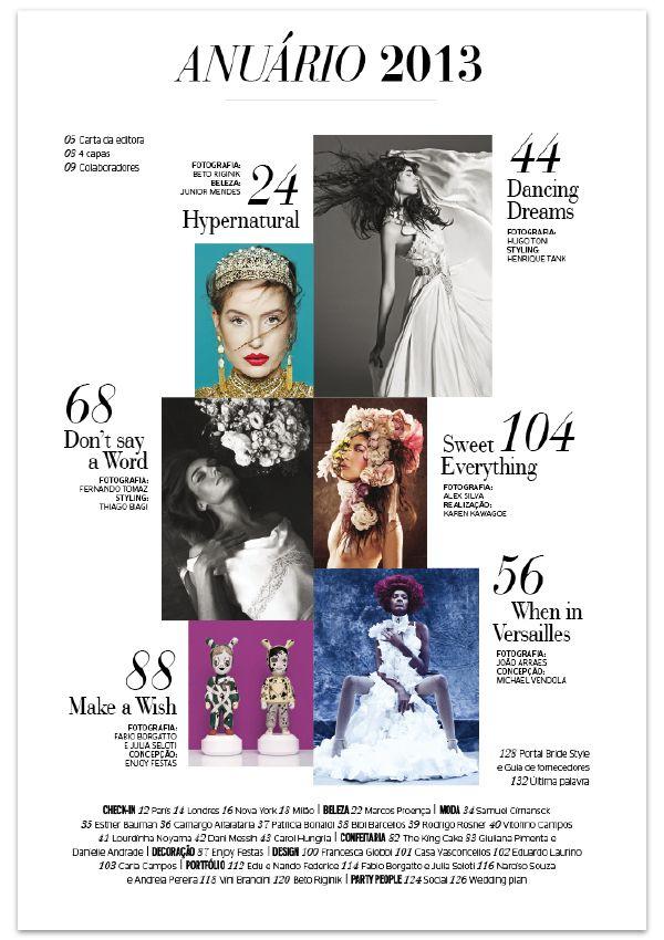 Contents - Anuário BRIDE Style 2013 by Vitor Milito, via Behance