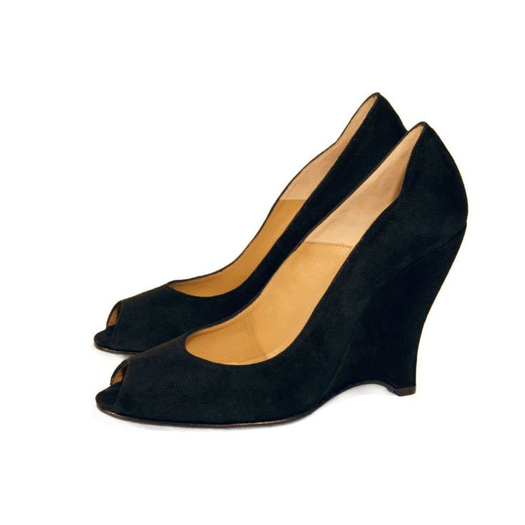 CLEO B 'Disco' soft suede peep toe wedge in black #pixel #collection #black #suede #wedges #heels #shoes #disco #fashion #designer #london #style